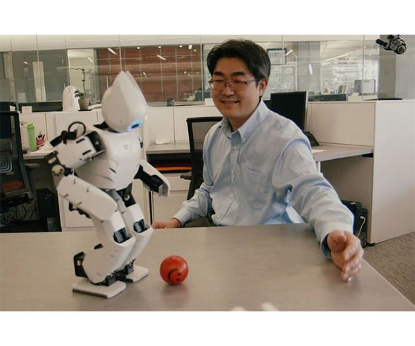 Dr. Park with one of his robots